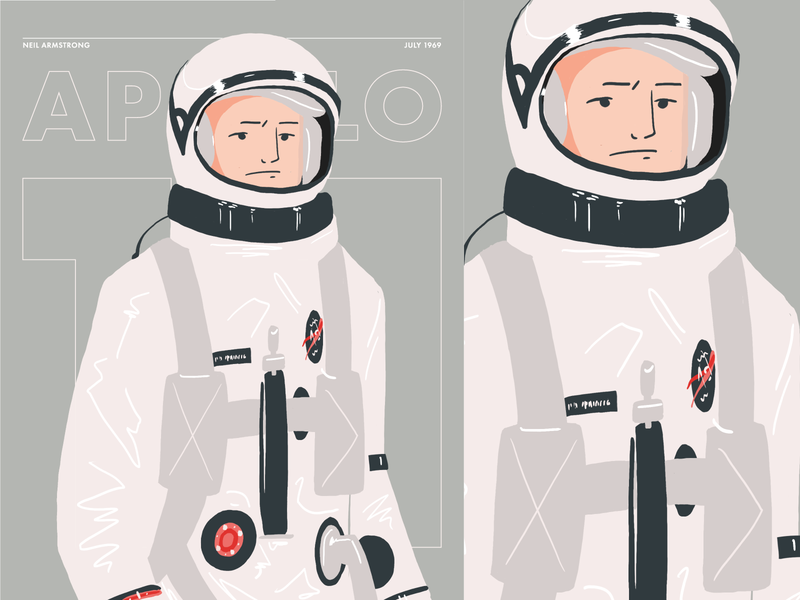 Apollo 11 poster cover spaceman person profile graphic flat illustration nasa space astronaut