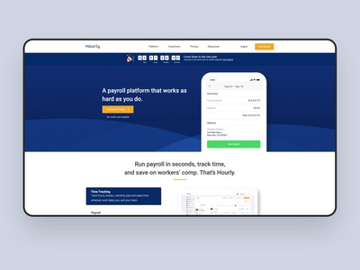 Landing Page end of year updates landing design blue timetracking payroll interface iphone clean uidesign ui ux design endofyear appdesign app promotion landingpagedesign landingpage