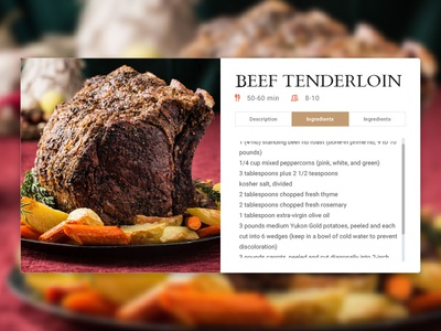 Recipe Card - daily 1 hour challenge restaurant recipe card nutrition beef food ux ui