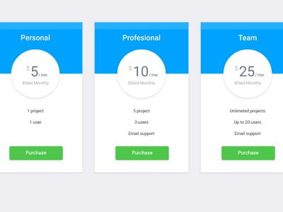 Pricing Table plan option purchase buy pricing table clean interface ux ui