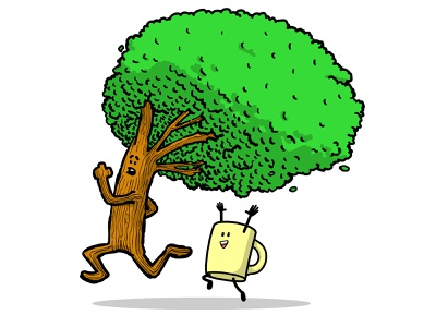 Tree and Cup happy running cup tree characters characterdesign character drawn design illustration vector