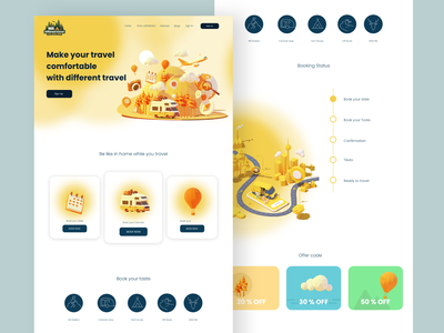 Make your travel comfortable with different travel ux trucking camping yellow new ui caravan trip ui travel