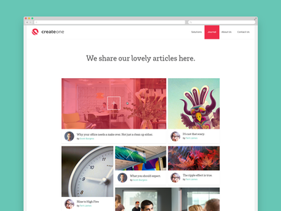 CreateOne Journal focus lab web design website flat minimal journal blog masonry