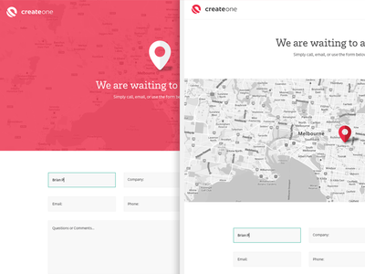 CreateOne Contact v2 contact form location icon interactive map minimal flat website web design focus lab