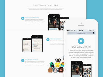 Couple Website couple app ios7 ios6 homepage website responsive clean clear simplicity bright