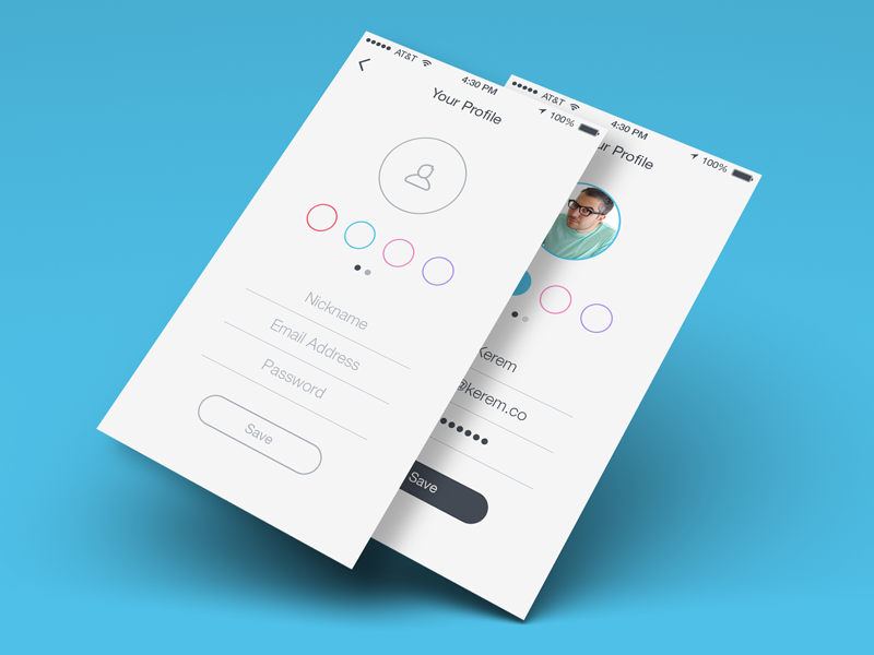 Your Profile iOS 7 ios7 ios 7 onboarding app profile create colors simple flat