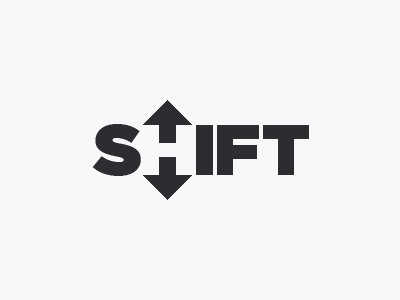 Shift logo arrows negative space down up shift logo concept