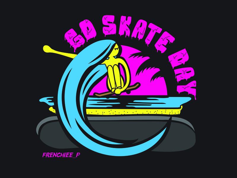 Go Skate Day typography california goskateday skateboard skater character logo illustration branding design