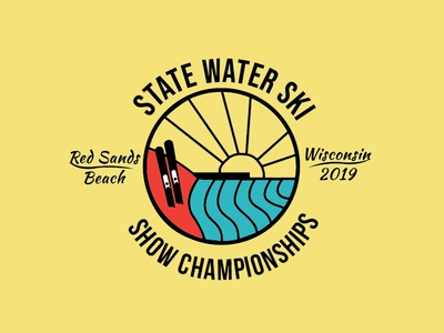 Official State Water Ski Logo 2019 skiing linework icon vector brand design brand identity typography branding logo design