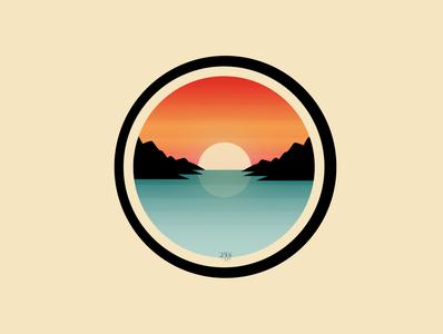 Sunset Sticker illustration sunset logo design