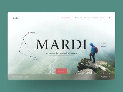 .trails - Website Design (Idea) mardi prabin mountain nepal travel hero banner webdesign interactive interface userinterface ui website web