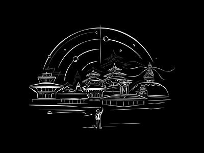 My Kathmandu prabin stroke illustration blackandwhite artwork nepali design city temple nepal kathmandu vectorart illustration