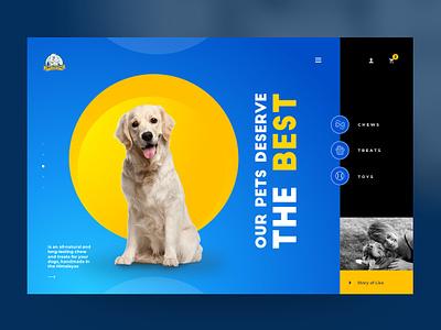Yeti Dog Chew - Website Design (First Idea) ux design uidesign prabin webdesignnepal blue vibrant dog homepage website webdesign interface design