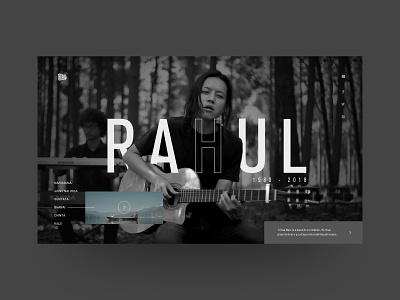 Tribal Rain : Rahul Rai - Website Design (Idea) artist tribute rip tribalrain music band ui  ux design