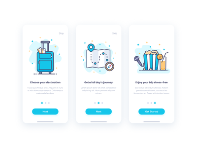 A Day's Journey relax ui onboarding travel trip journey microphone juice popcorn compass tickets luggage location map sketch figma app blue illustration design