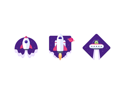 Spaceship plane app icon ui stars space ufo planet sketch figma spacecraft illustration design