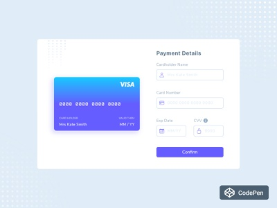 Payment Details - Pure JS gradient input field form card javascript sass ecommerce buy pay pure js ui design figma sketch codepen checkout payment credit card