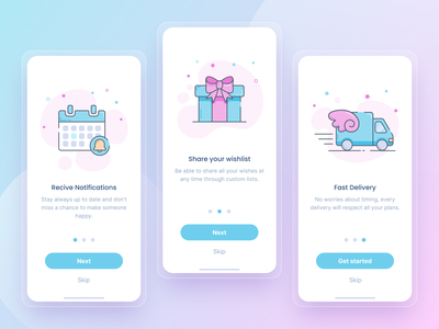 Gift App - Onboarding Design icons mobile app design ui figma simple wishlist birthday gift light minimal app onboarding onboard illustration