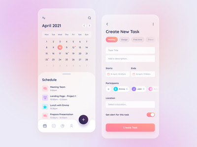 Task Managment App ios glass effect glass mobile app mobile ui design meeting to do list minimal clean design app trend trend 2021 calendar schedule app task management managment glassmorphism task