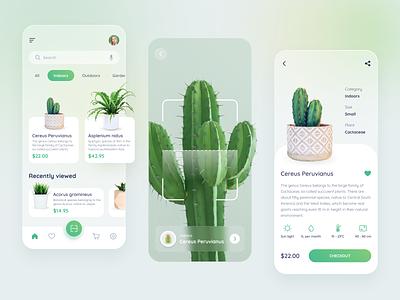 Plant Shop App code scanning indoors minimalist ecommerce shop plant app glassmorphism glass effect ios app trend clean trend 2021 mobile cactus plants green scanner recognition