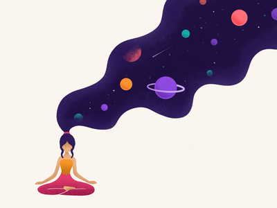 Astral meditation texture comet space dribbble stars meditation planets universe procreate illustration