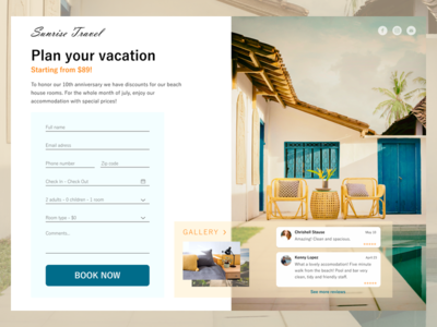 Simple landing page dailyui 003 daily ui dailyui ui design travel hotel book landing page concept booking landing page