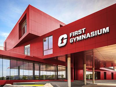 School Logo Signage for First Gymnasium building signage first gymnasium school symbol branding minimal logo