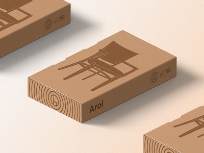 Packaging for Sádlík's Wooden Chair natural tree ring wood chair package branding box