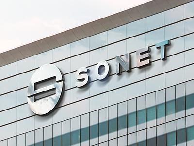 Signage on a Company Building it technology window glass building signage finance minimal symbol branding logo