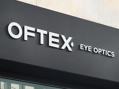 Shop Signage minimal branding wall logo x signage shop optics eye