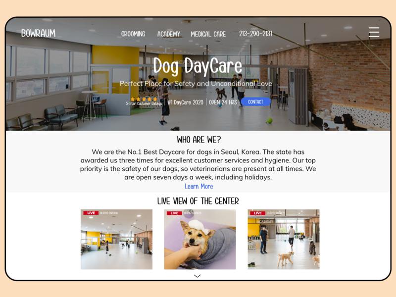 Bowraum - Dog Daycare redesign website uiux ui dog