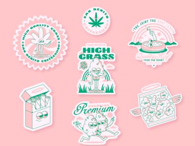 stickers san benito - domicilio coffeshop branding cartoon 420 coffeeshop weed stickers characterdesign graphicdesign digitalart vector illustrator logotype vectors illustration