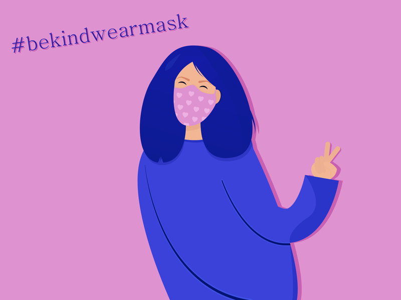 Wear a mask facemask kind health cute 2d character character design character face mask design mask wear mask kawaii colors girl artwork art adobeillustator illustration character illustration art illustration