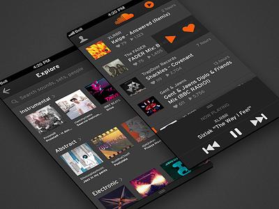 Soundcloud Concept concept iphone ios app design visual music playback player dark