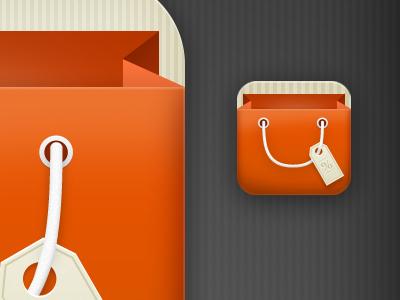 iPhone icon iphone design icon bag pricetag textures stripes orange beige retina