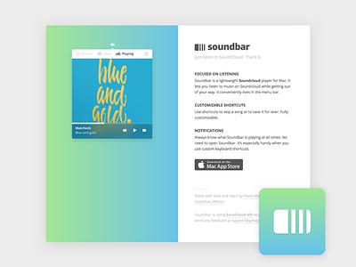Soundbar Website menubar desktop mac app soundbar soundcloud