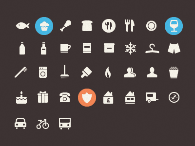 Glyph icons pack icons simple crisp 28x28 food transport clothes house fun popcorn fish muffin glass shield bike people toothbrush coffe tin box frozen icon design glyph icon