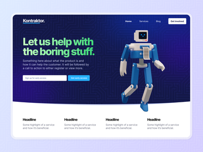 Kontraktor ideas pattern gradient colours ux product design landing page product web design ui homepage branding website design