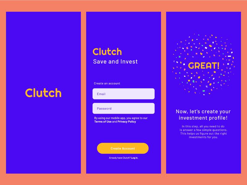Clutch - Finance App illustrator art typography app ux ui logo type design branding