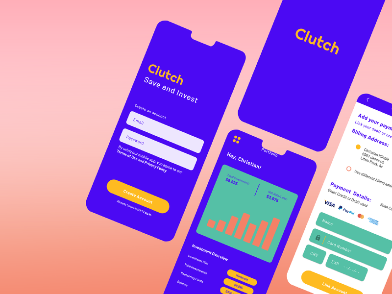 Clutch - Finance App business finance app app typography ui ux logo type design branding