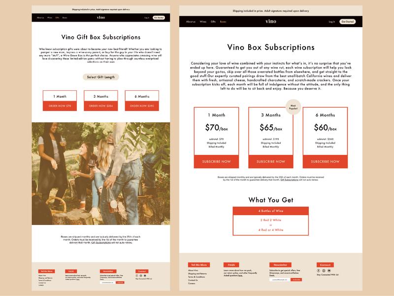Vino - Wine Subscription Service neutral webdesign winery wine subscription web ux ui typography type design logo branding