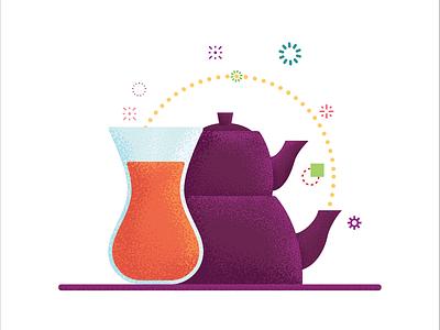 Turkish tea colorful tea cup flat illustration cay turkey turkish tea