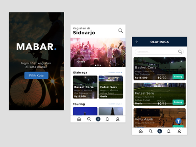 Mabar - Discover and join sport activites nearby you ux design ui design user inteface design ui ux app