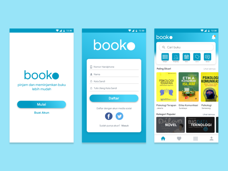 Booko - Rent book easily mobile user experience application ux design ux user inteface ui design ui design app