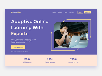 Online Learning Course Landing Page learning course landing page platform online hero section minimal ui