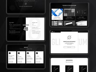 Landing page for #HACKATHONHUB design black and white dark ui landing page figma web-design web ux ui