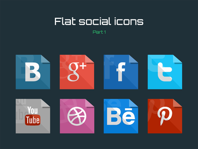 Free flat social icons (Part 1) icon icons flat psd freebie social twitter facebook ux ui