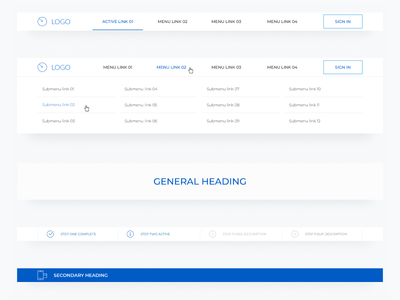 Desktop header components (in progress) ui pattern library style guides visual design user experience ui design
