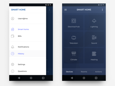 Smart home & utility payments app (draft study) bills payment service iot app ui ux smart home app