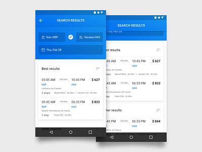 Flights search native app (in progress) figma in progress native ux design ui design material design 2 android app